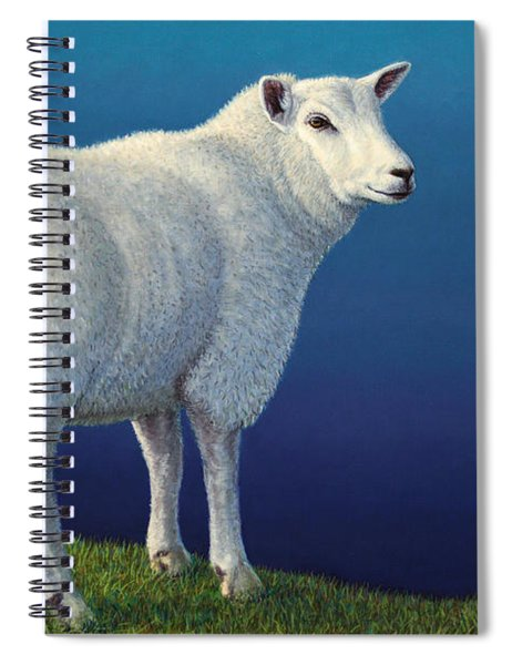 Spiral Notebook featuring the painting Sheep At The Edge by James W Johnson