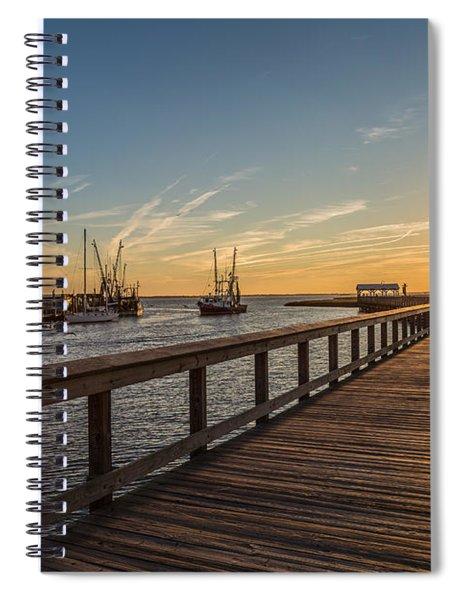 Shem Creek Pier Sunset - Mt. Pleasant Sc Spiral Notebook