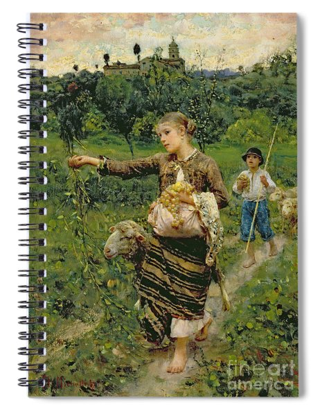 Shepherdess Carrying A Bunch Of Grapes Spiral Notebook