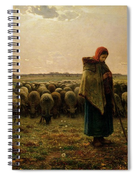 Shepherdess With Her Flock Spiral Notebook