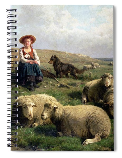 Shepherdess With Sheep In A Landscape Spiral Notebook
