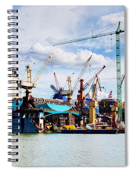 Ship Under Construction On Shipyard Spiral Notebook