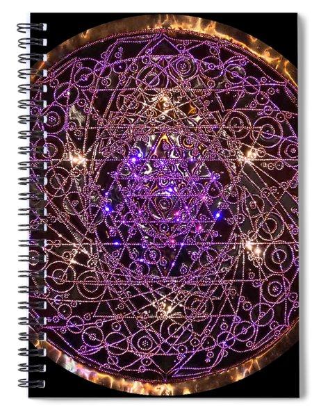 Spiral Notebook featuring the sculpture Shiva Shakti Coipper Lightmandala by Robert Thalmeier