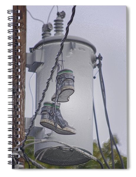 Spiral Notebook featuring the photograph Shoefiti 10145 by Brian Gryphon