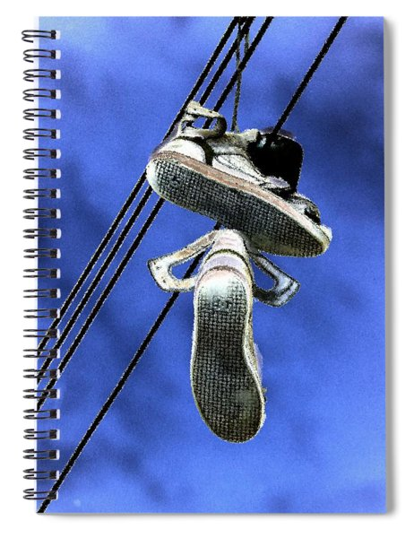 Spiral Notebook featuring the photograph Shoefiti 13115 by Brian Gryphon