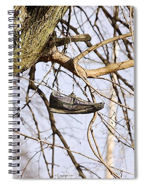 Spiral Notebook featuring the photograph Shoefiti 19061 by Brian Gryphon