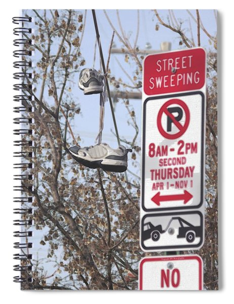Spiral Notebook featuring the photograph Shoefiti 19070 by Brian Gryphon