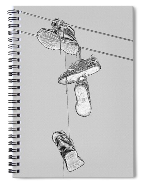 Spiral Notebook featuring the photograph Shoefiti 2103bw by Brian Gryphon