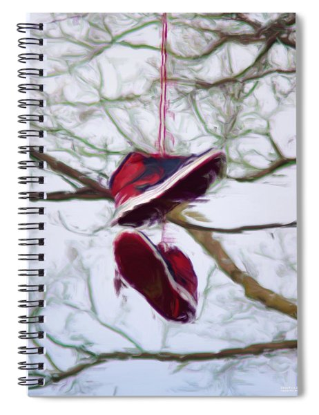 Spiral Notebook featuring the digital art Shoefiti 2327dp by Brian Gryphon