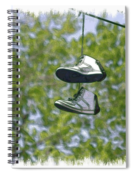 Spiral Notebook featuring the digital art Shoefiti 23625 by Brian Gryphon