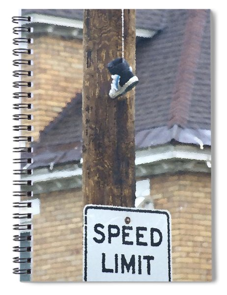Spiral Notebook featuring the photograph Shoefiti 62676 by Brian Gryphon