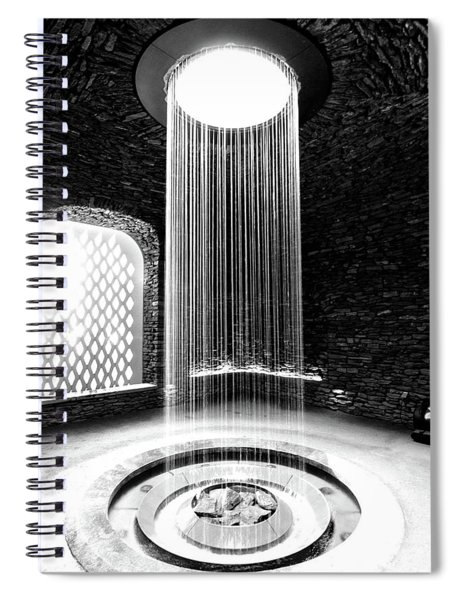 Shower Inside The Grotto Black And White Spiral Notebook