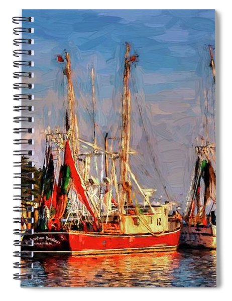 Shrimp Boats Shem Creek In Mt. Pleasant  South Carolina Sunset Spiral Notebook