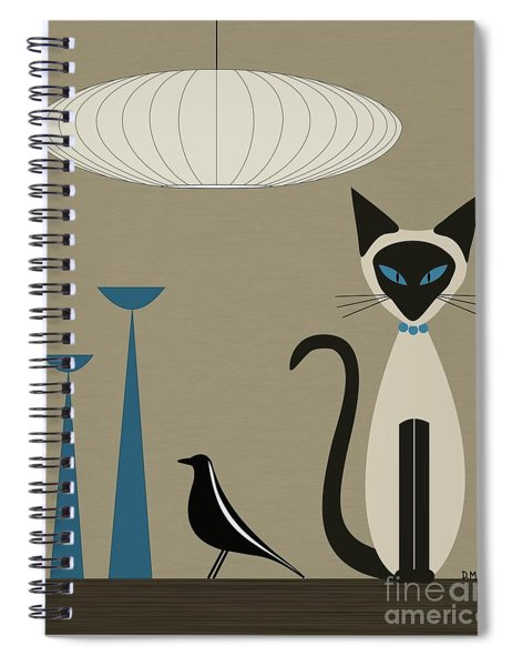 Siamese Cat With Eames House Bird Spiral Notebook