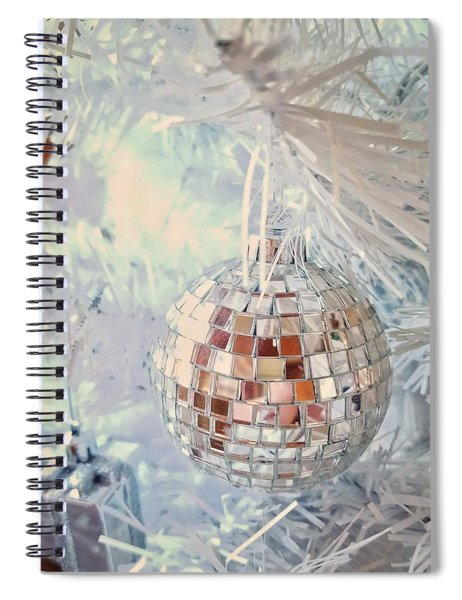Silver And White Christmas Spiral Notebook