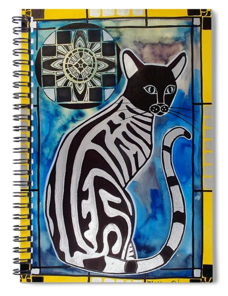 Silver Tabby With Mandala - Cat Art By Dora Hathazi Mendes Spiral Notebook