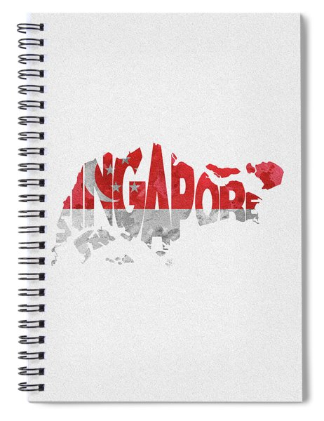 Singapore Typographic Map Flag Spiral Notebook