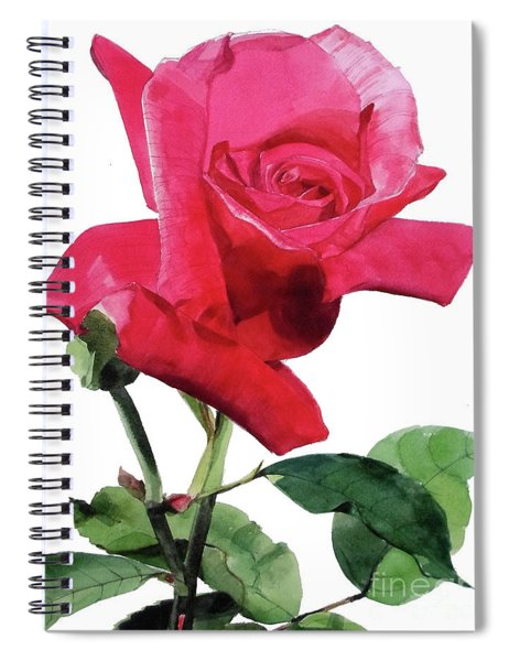 Single Bright Pink Rose Unfolding Spiral Notebook
