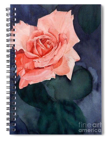 Watercolor Of A Magic Bright Single Red Rose Spiral Notebook