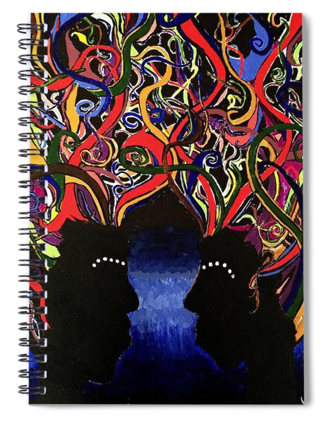 Sis The Twins - Abstract Silhouette Painting - Sisterhood - Abstract Painting  Spiral Notebook