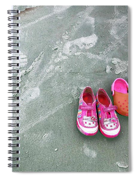 Sisters Playing Barefoot In The Sand Spiral Notebook
