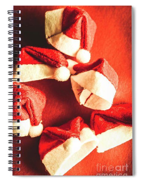Six Santa Hats In Vintage Tone Spiral Notebook