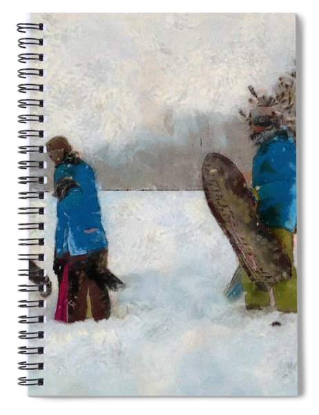 Six Sledders In The Snow Spiral Notebook