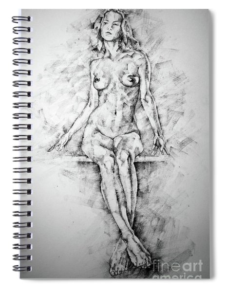 Sketchbook Page 39 Drawing Female Full Body Sitting Front Pose Spiral Notebook