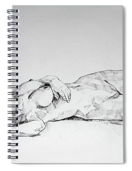 Sketchbook Page 40 I Lying Girl Charcoal Drawing Spiral Notebook