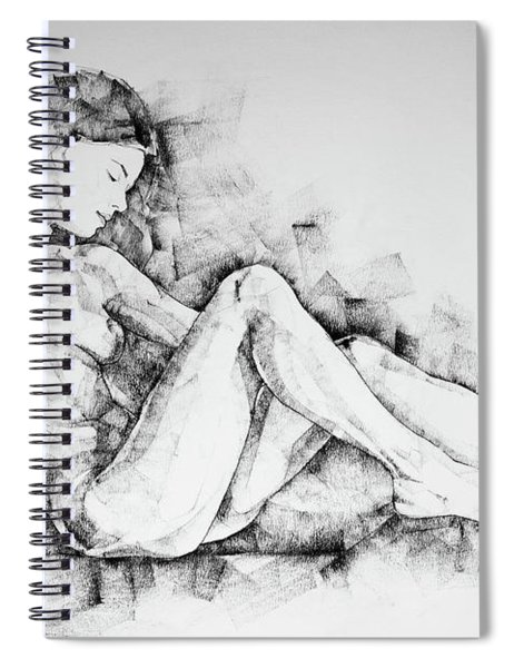Sketchbook Page 42 Drawing Girl Sitting Pose Spiral Notebook