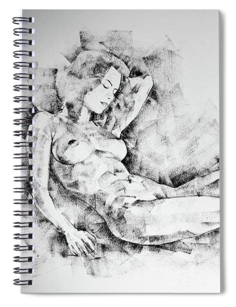 Sketchbook Page 44 Whole Figure Drawing Girl Beautiful Light Spiral Notebook