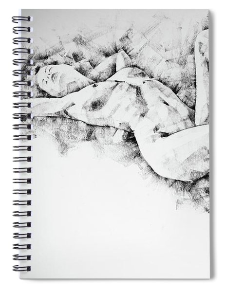 Sketchbook Page 48 Pose Drawing Lying Female Figure With Hands Raised Spiral Notebook