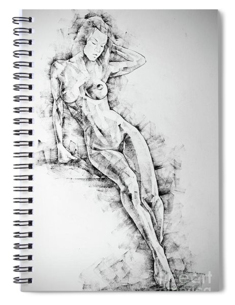 Sketchbook Page 54 Beautiful Slim Young Woman Standing Pose Drawing Spiral Notebook