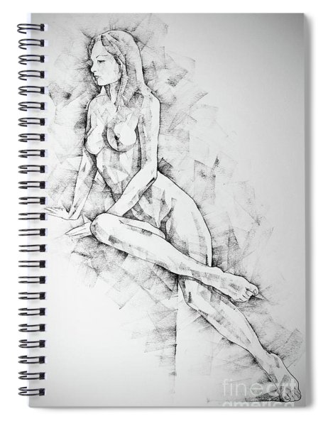 Sketchbook Page 57 Woman One Side Sitting Pose Drawing Spiral Notebook
