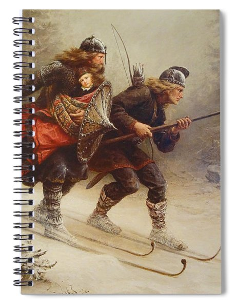 Skiing Birchlegs Crossing The Mountain With The Royal Child Spiral Notebook