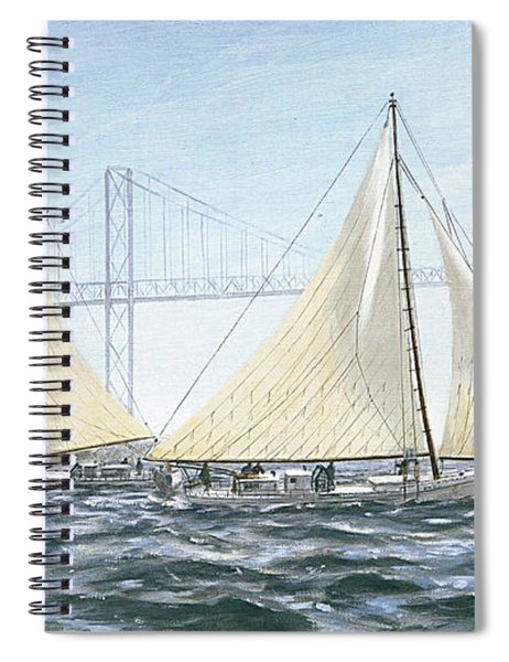 Spiral Notebook featuring the painting Skipjacks Racing Chesapeake Bay Maryland Detail by G Linsenmayer
