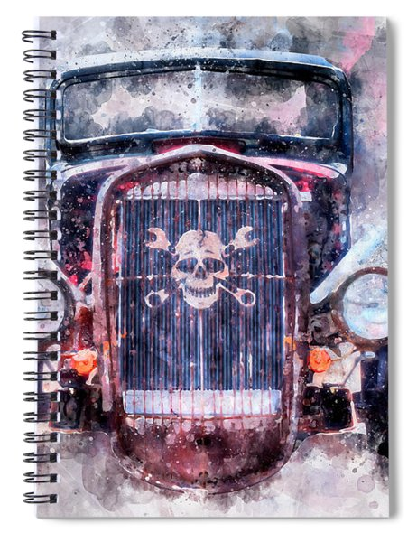 Skull And Cross Wrench Watercolor Spiral Notebook