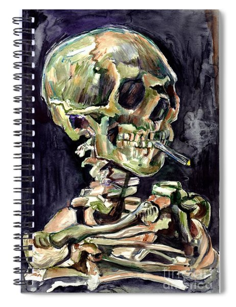 Skull Of A Skeleton With Burning Cigarette Spiral Notebook