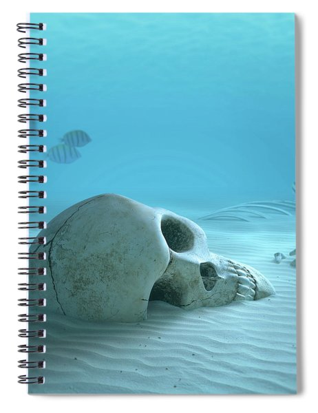 Skull On Sandy Ocean Bottom Spiral Notebook