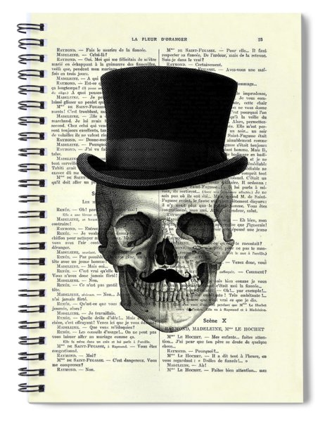 Skull With Top Hat And Moustache Spiral Notebook