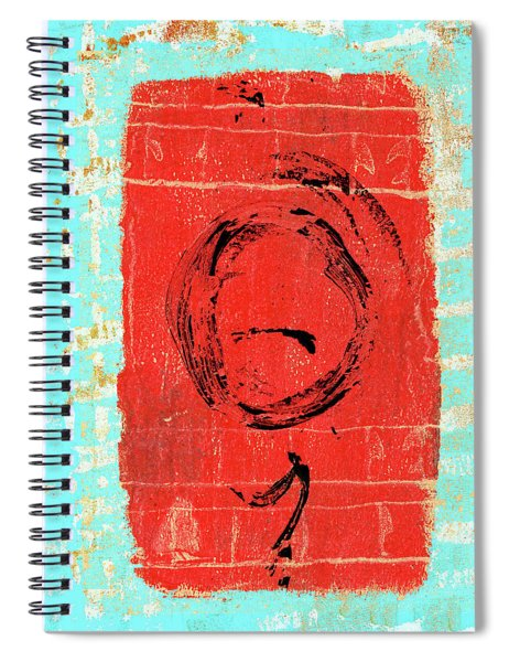 Sky Blue And Muted Red Abstract Spiral Notebook