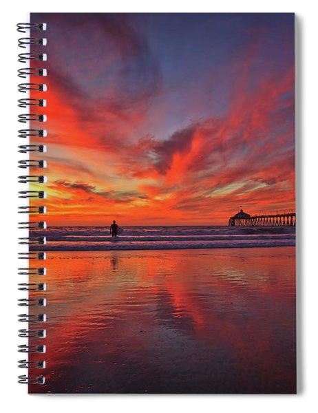 Sky On Fire At The Imperial Beach Pier Spiral Notebook