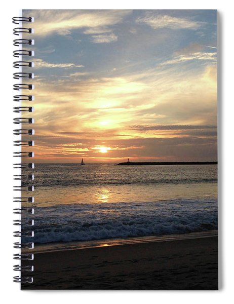 Sky Swirls Over Toes Beach Spiral Notebook by Lorraine Devon Wilke