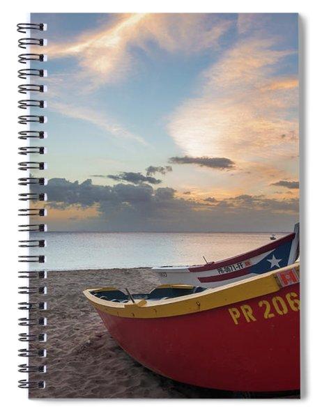 Sleeping Boats On The Beach Spiral Notebook
