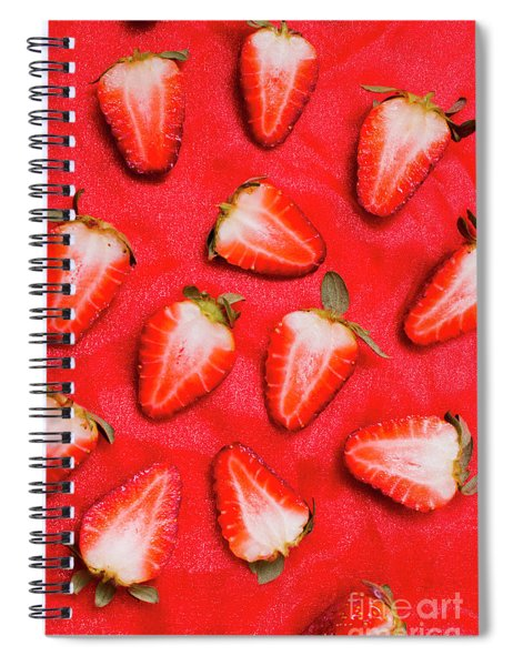 Sliced Red Strawberry Background Spiral Notebook