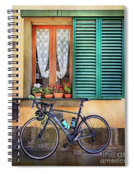 Sliver And Black Bianchi Bicycle Spiral Notebook