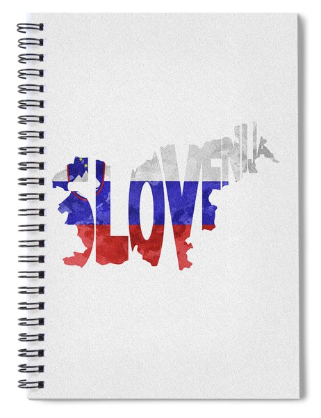 Slovenia Typographic Map Flag Spiral Notebook