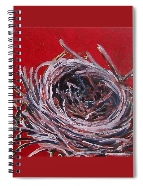 Small Nest On Red Spiral Notebook