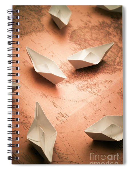 Small Paper Boats On Top Of Old Map Spiral Notebook