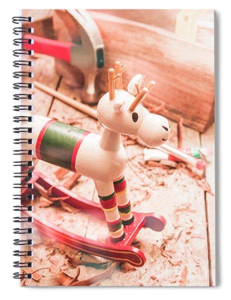 Small Xmas Reindeer On Wood Shavings In Workshop Spiral Notebook